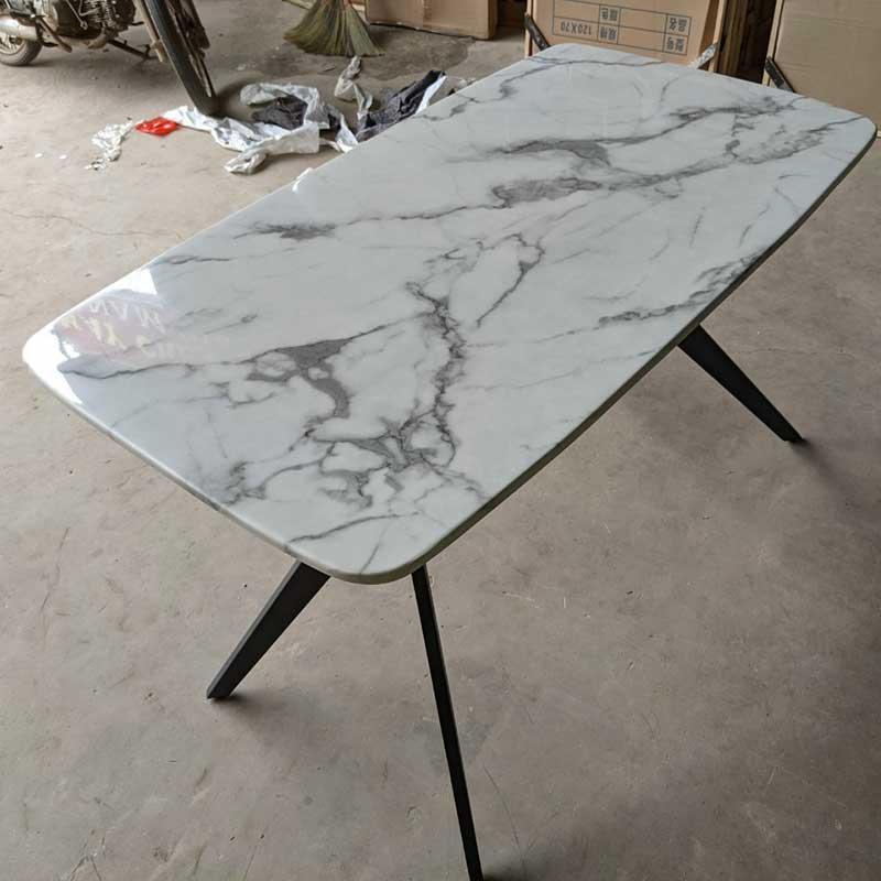 Bàn ăn chân sắt hình chữ H, mặt đá nhập khẩu BA660