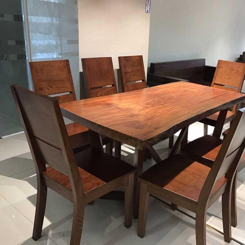 Bộ bàn ăn 8 ghế gỗ tự nhiên BA696