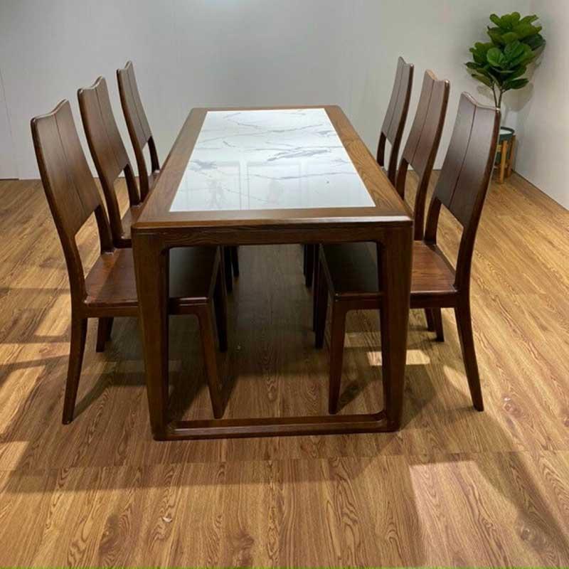Bộ bàn ăn chân quỳ 6 ghế gỗ sồi sơn màu óc chó BA228