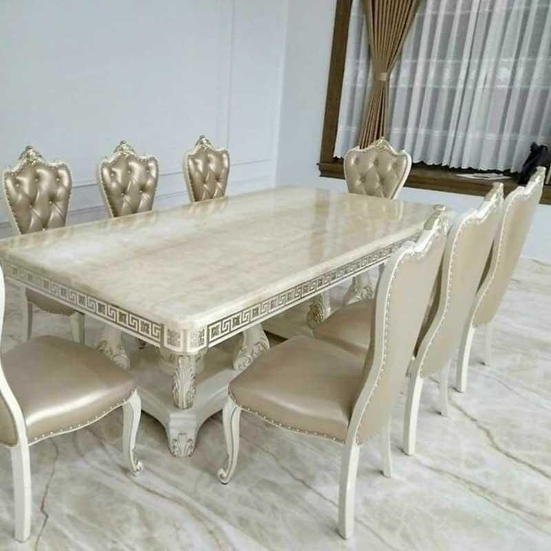 Bộ bàn ăn phong cách tân cổ điển 8 ghế sang trọng BA338