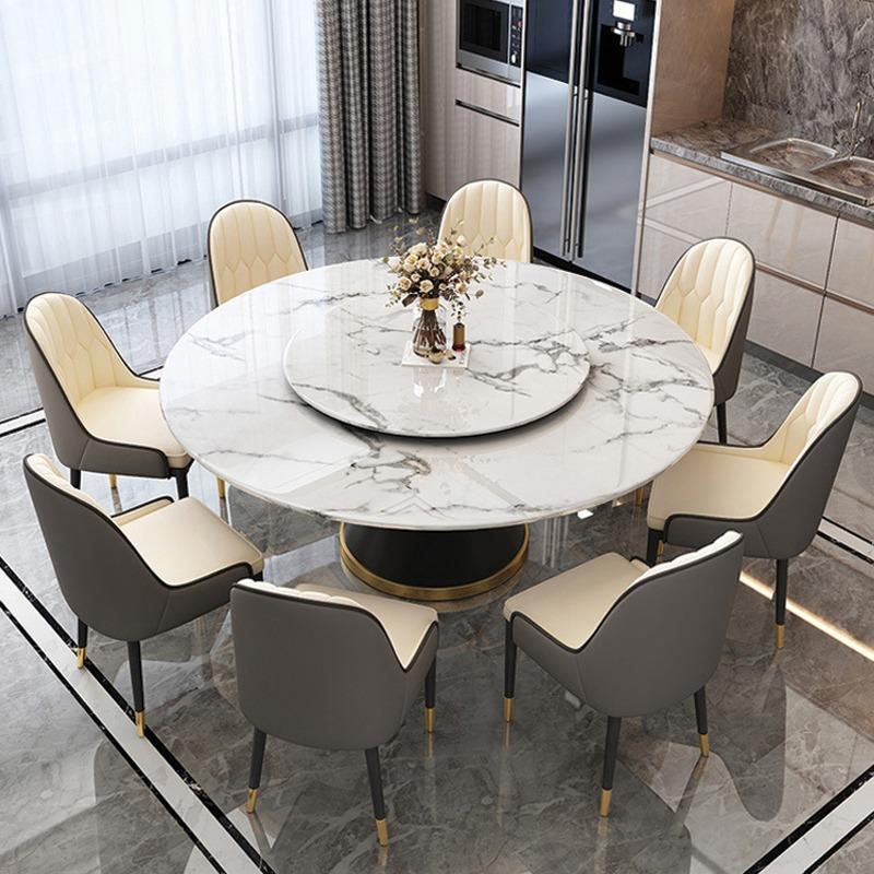 Bộ bàn ăn tròn 8 ghế Monet có tay nhập khẩu BA990