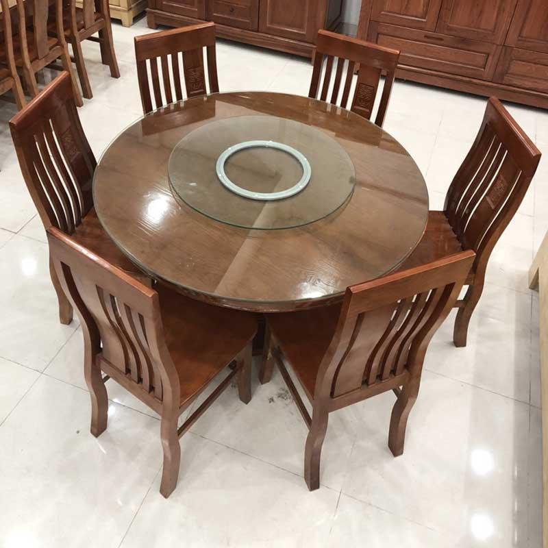 Bộ bàn ăn tròn xoay mặt kính 1m2, 6 ghế gỗ xoan đào BA224