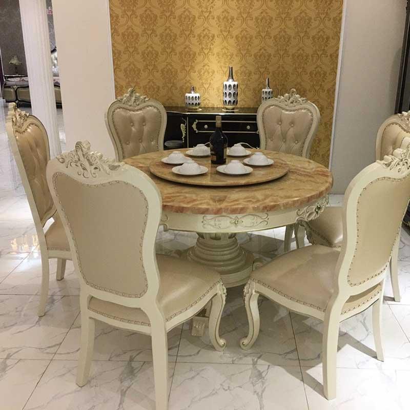 Bộ bàn ghế ăn tân cổ điển mặt đá hình tròn cao cấp BA339