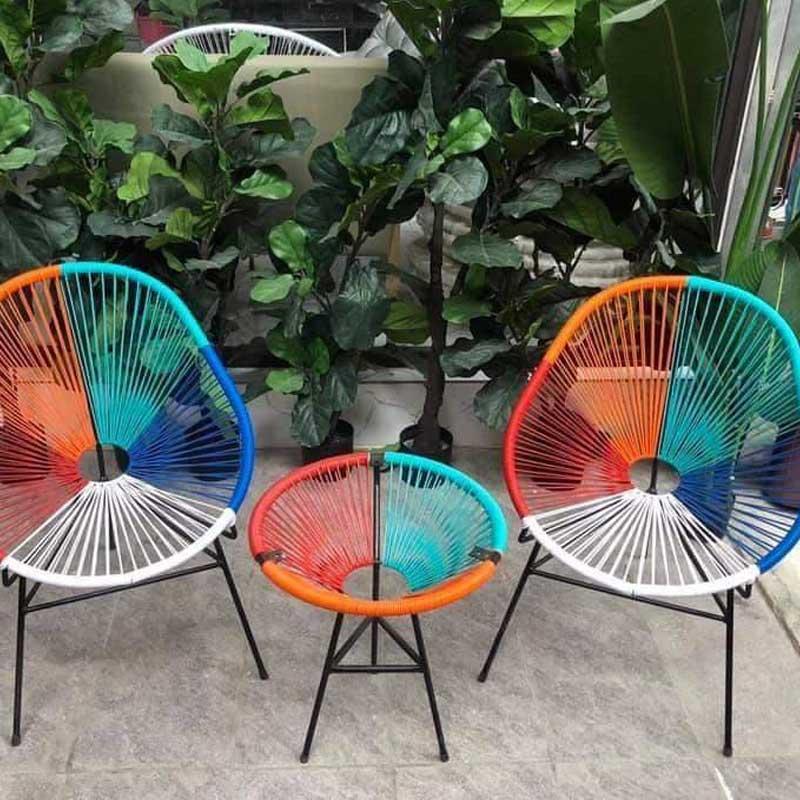 Bàn ghế ban công dây văng phối 3 màu 2 ghế 1 bàn BM288
