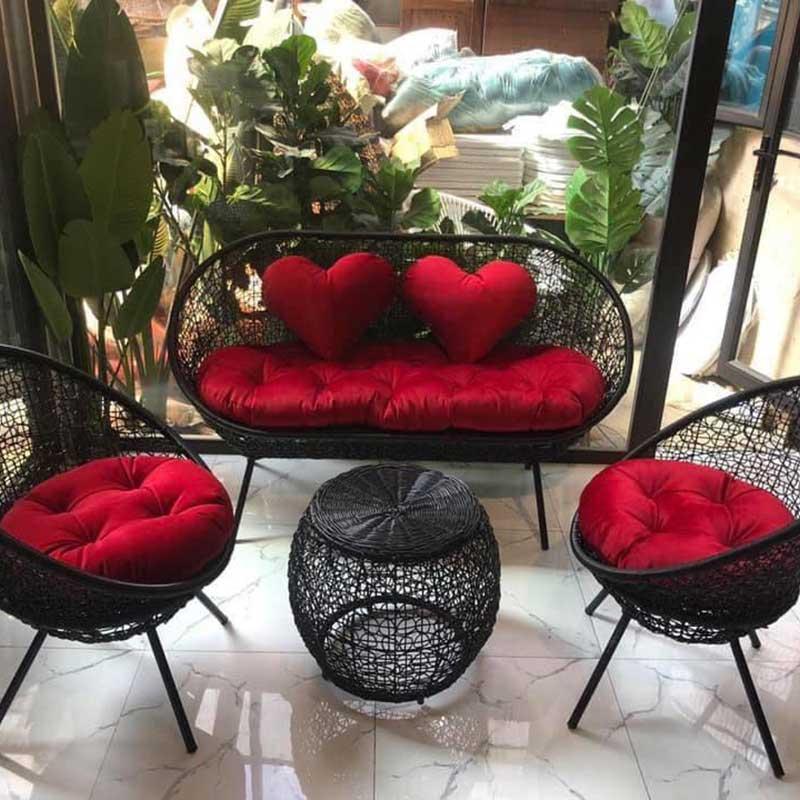 Bộ sofa mây nhựa cao cấp đan rối đen BM626