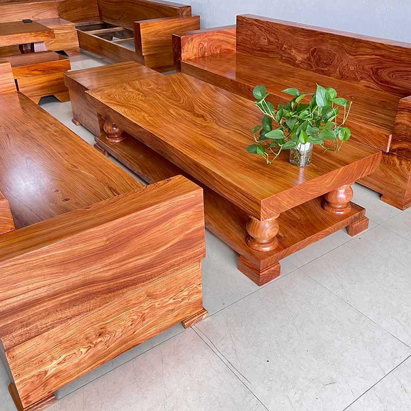 Bàn ghế phòng khách gỗ hương đá nguyên khối dày 10cm BK102