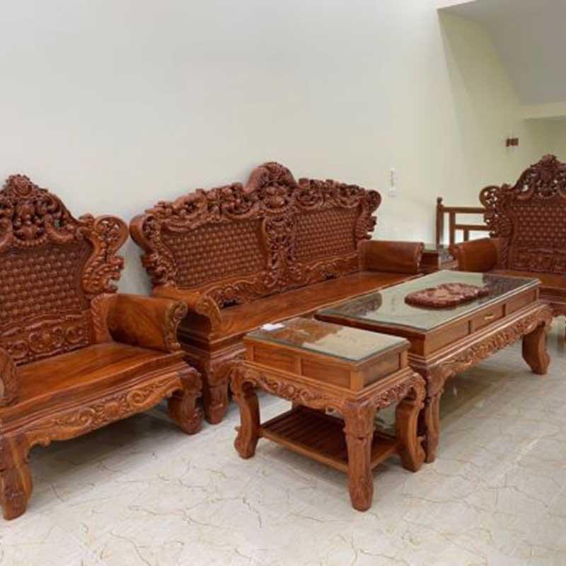 Bộ bàn ghế Hoàng Gia gỗ Hương Đá mặt tràn chân 14 BK169