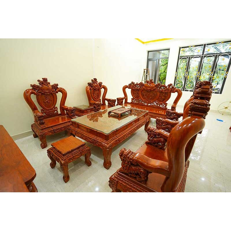 Bộ bàn ghế Nghê Phượng tay cột 12 gỗ Hương Đá BK108