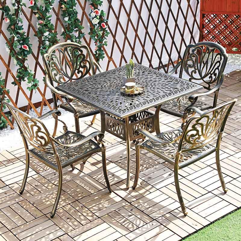 Bộ bàn ghế sân vườn nhôm đúc 4 ghế BS268