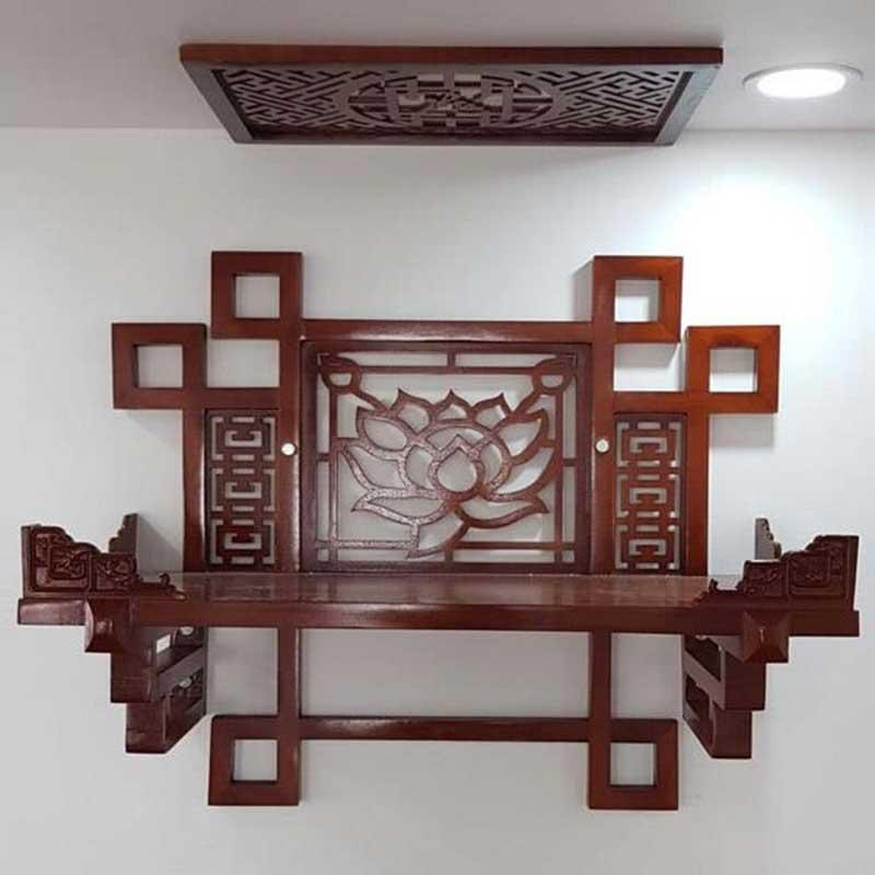 Bàn thờ treo tường chạm hình Sen tinh tế BO628