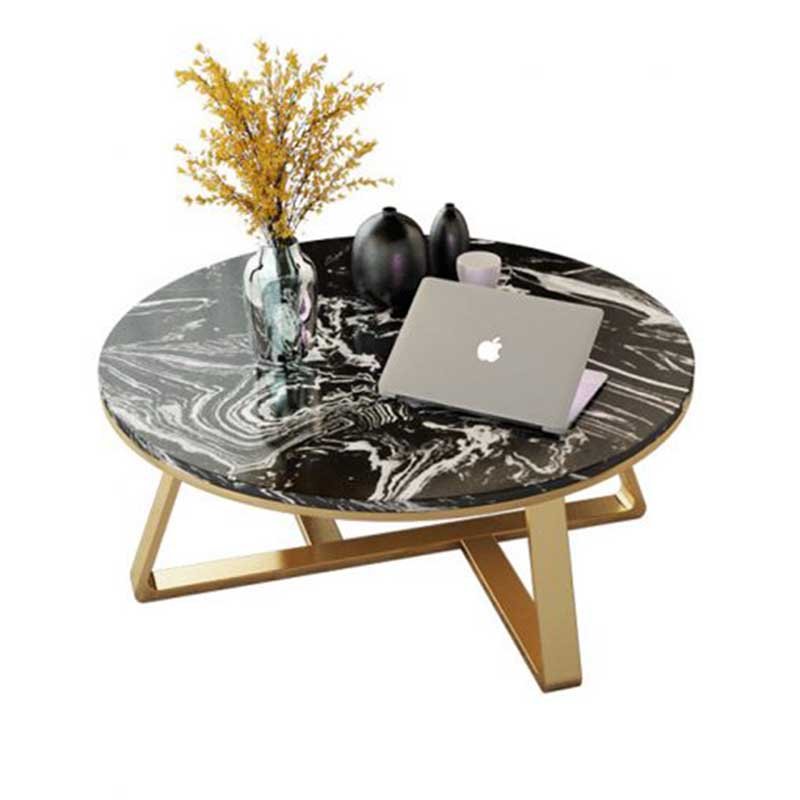 Bàn trà mặt đá nhân tạo khung kim loại màu vàng đồng BT686