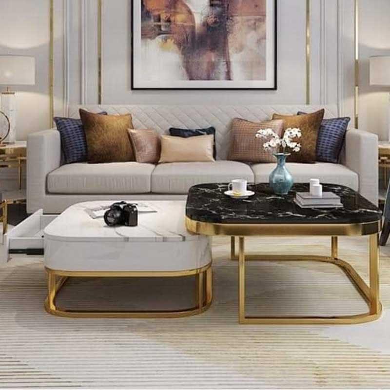 Bàn trà sofa đôi hộp vuông mặt đá BT908