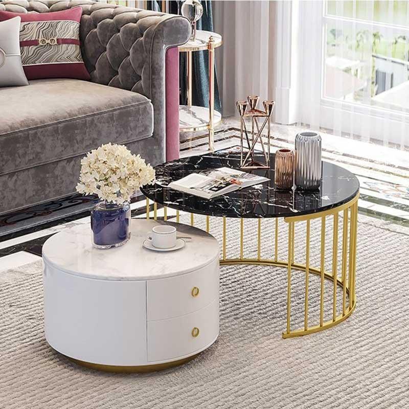 Bàn trà sofa đôi khung tròn mặt đá sang trọng BT909