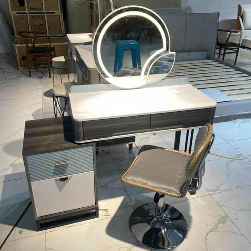 Bàn phấn trang điểm nhập khẩu, gương LED ghế chân Bar BP868