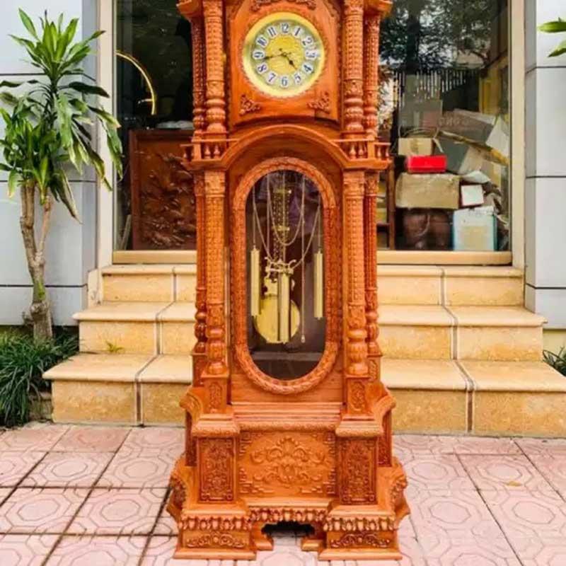 Đồng hồ cây mẫu tháp tứ trụ gỗ hương đá DH569