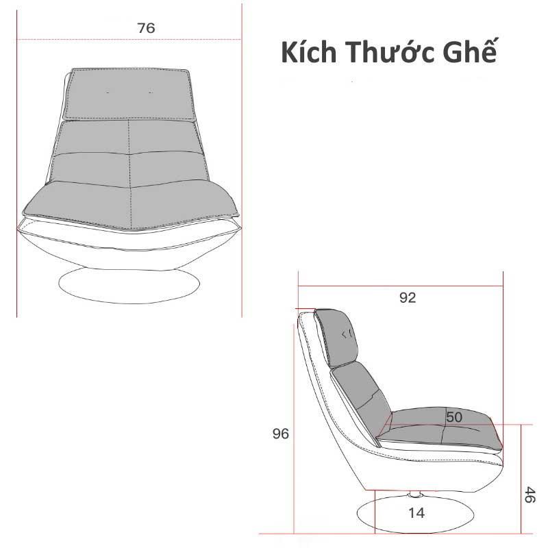 Ghế thư giãn xoay 360 độ, chân Inox chắc chắn GG299