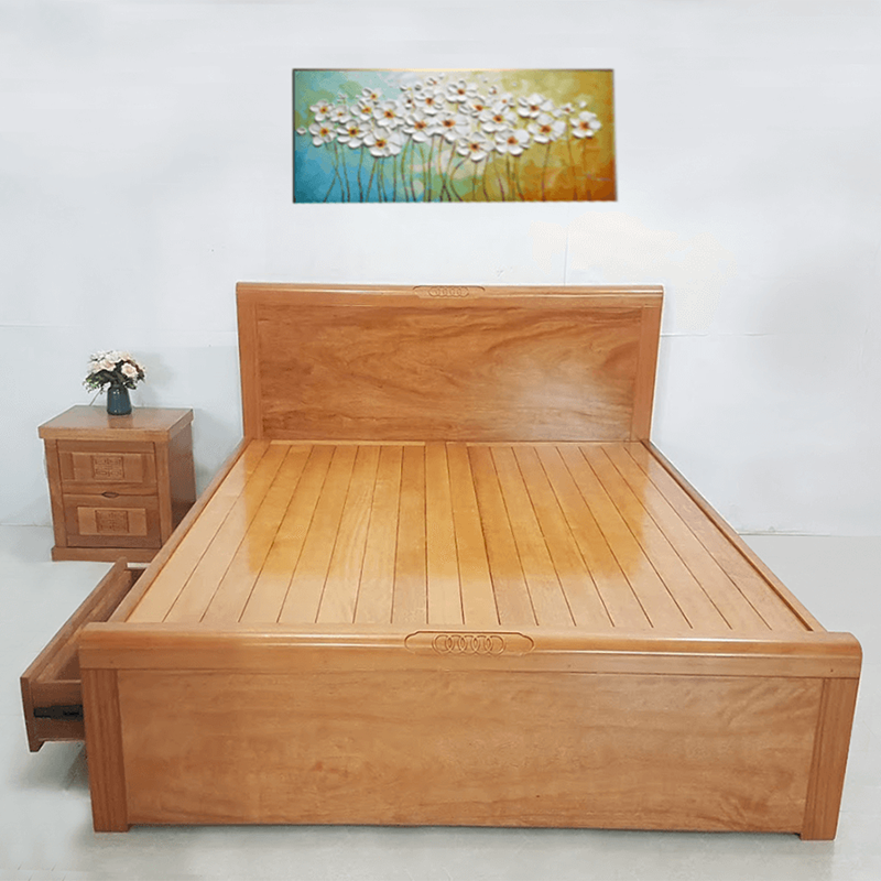 Giường ngủ gỗ đinh hương 1m8 X 2m kiểu dáng hiện đại GN899