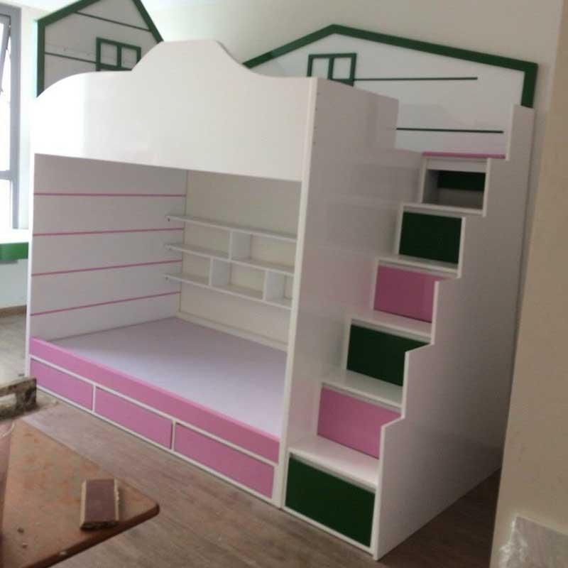 Giường tầng gỗ công nghiệp thiết kế đẹp cho bé GN411