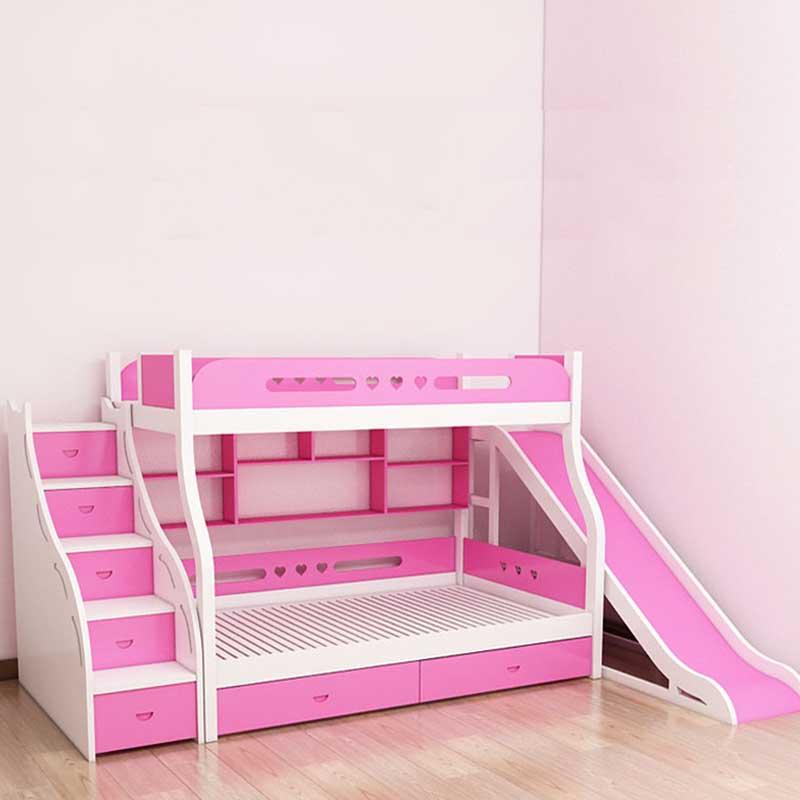Giường tầng gỗ kết hợp cầu trượt cho bé GN477