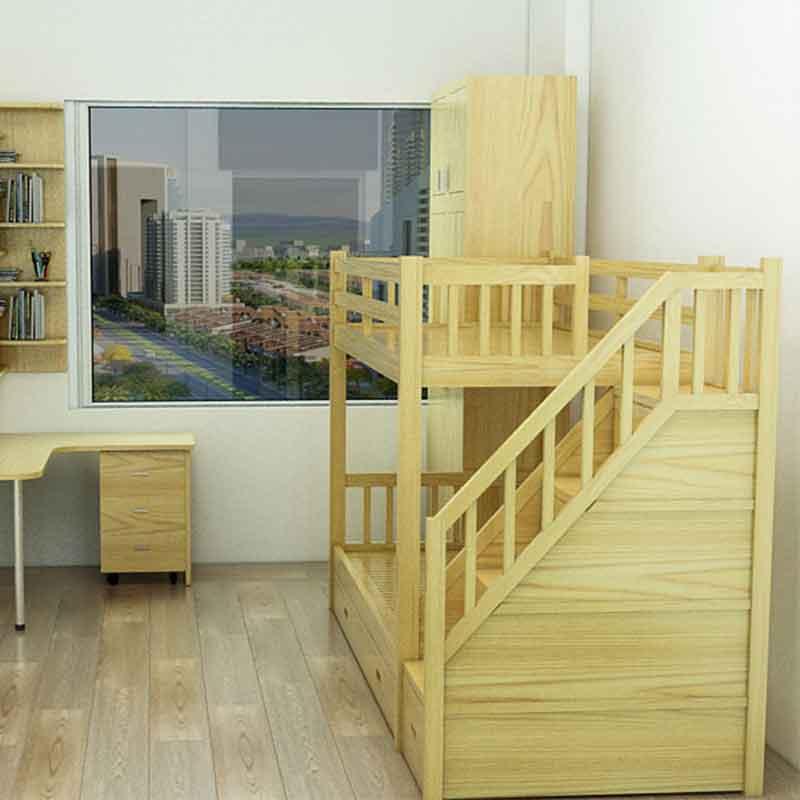 Giường tầng gỗ sồi Nga bậc thang dạng ngăn kéo GN499