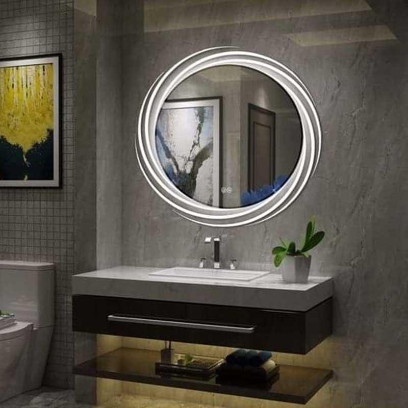 Gương phòng tắm kết hợp đèn LED xoắn ốc đẹp mắt GT008
