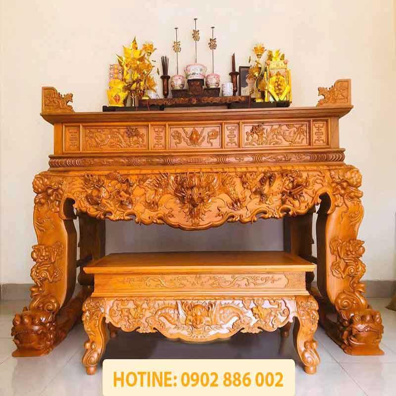 Sập thờ chân 24 gỗ Mít chạm Tứ Linh Long Lân Quy Phụng ST866