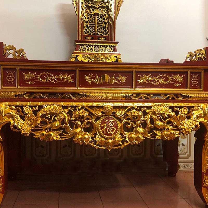 Sập thờ Mai Điểu Gỗ Mít chân 20 sơn son thiếp vàng ST809