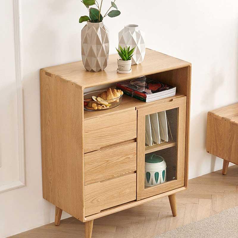 Tủ bếp bằng gỗ sồi tự nhiên kiểu dáng nhỏ gọn TB886