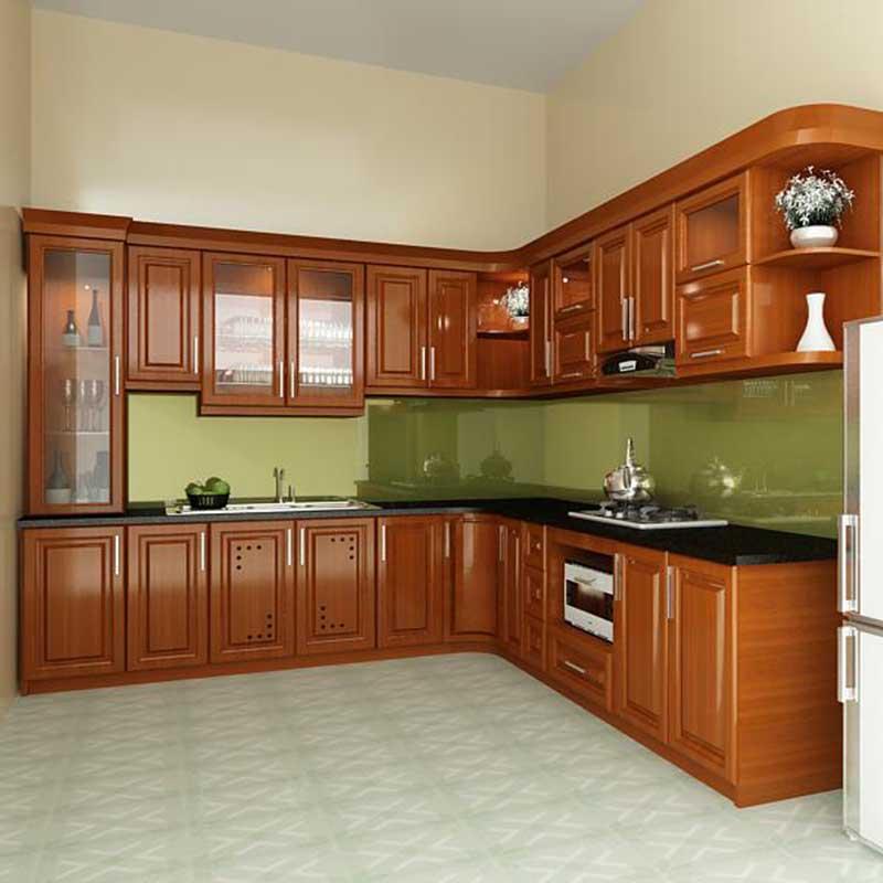 Tủ bếp gỗ xoan đào hình chữ L kiểu dáng hiện đại TB069