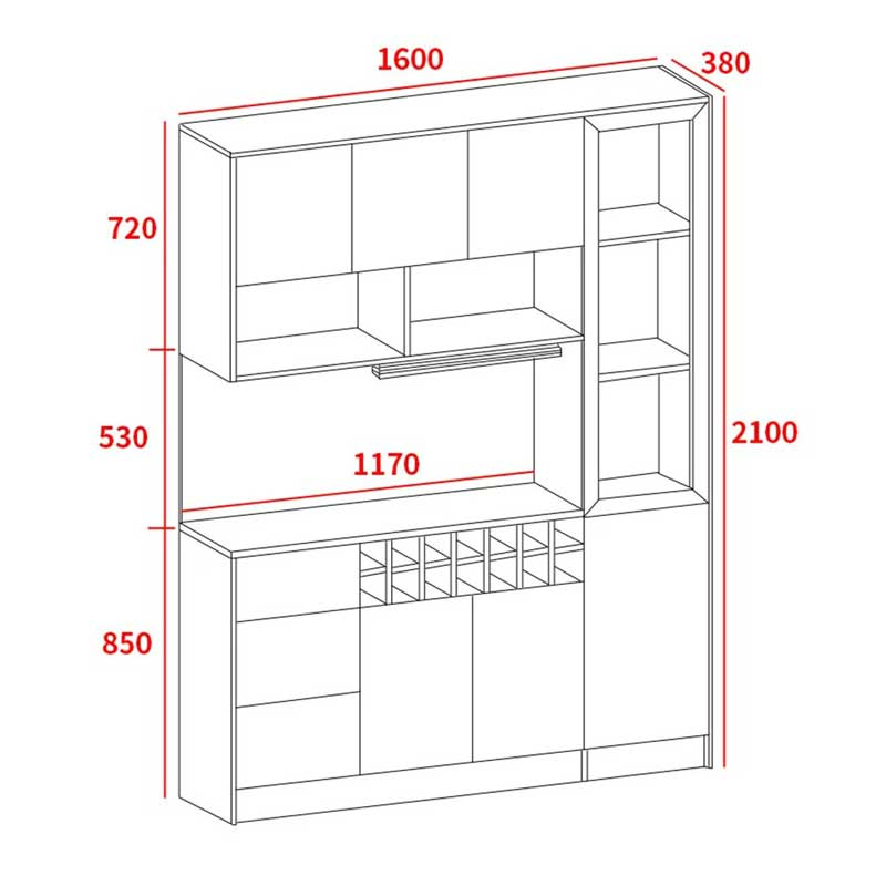 Tủ đựng đồ nhà bếp gỗ MDF phủ Melamine 1m6 x 2m1 TB655