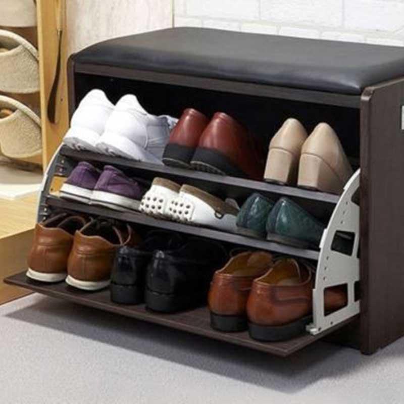 Tủ giầy thông minh đơn nhỏ gọn kèm ghế bọc da TG628