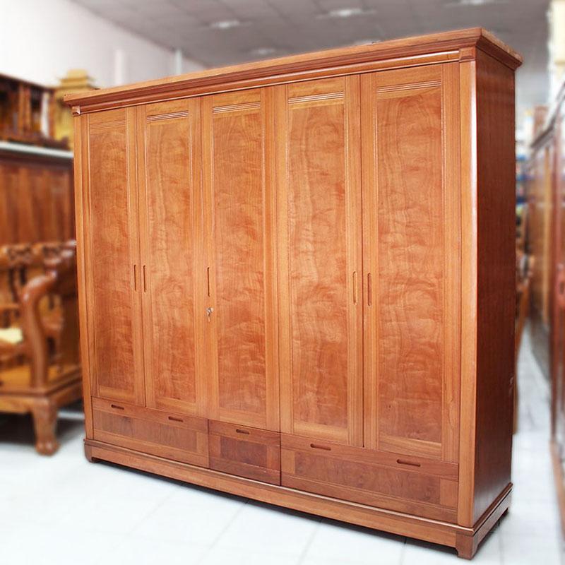 Tủ quần áo 5 cánh gỗ xoan đào 2,3m TQ222