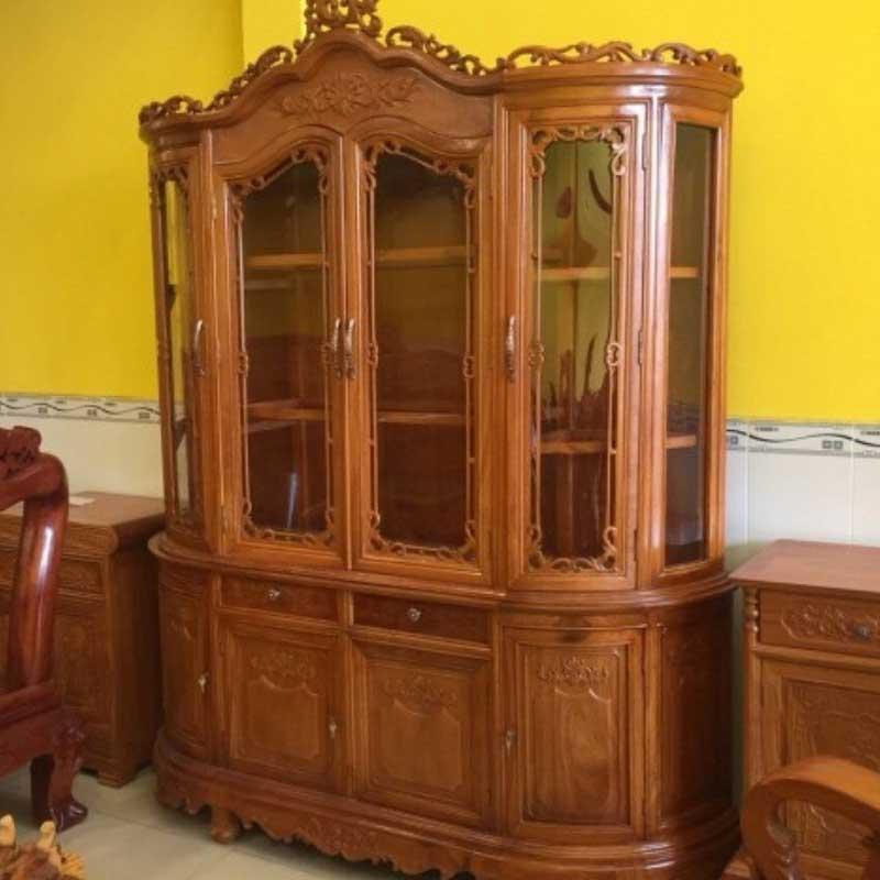 Tủ rượu gỗ gõ đỏ mặt cong 1m6 giá xưởng TR623
