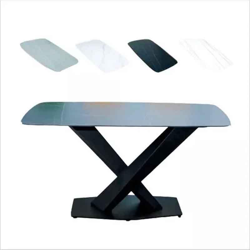 Bàn ăn chân sắt sơn tĩnh điện chữ X, mặt đá Cremic BA652