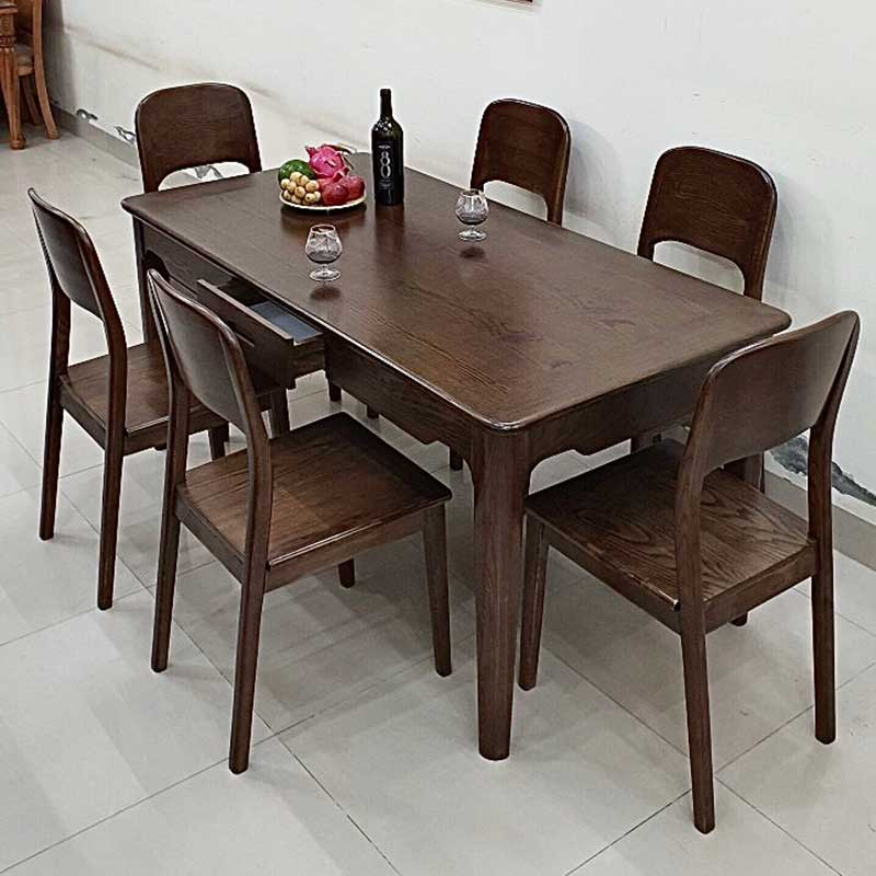 Bàn ghế ăn gỗ 6 ghế mẫu mới 2021 BA681