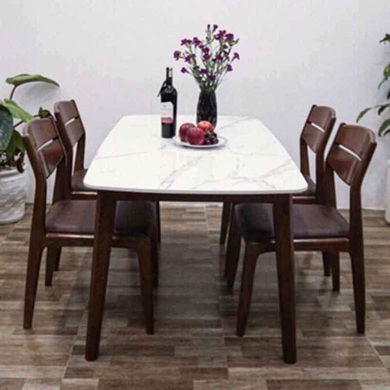 Bộ bàn ăn 4 ghế gỗ sồi Nga sơn màu óc chó BA269
