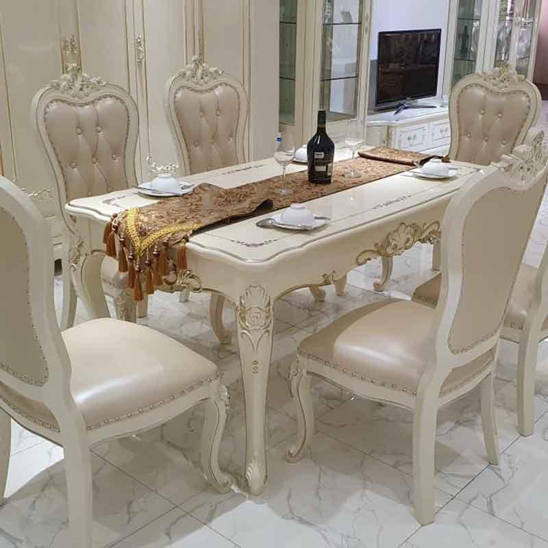 Bộ bàn ghế ăn phong cách tân cổ điển màu trắng nổi bật BA330