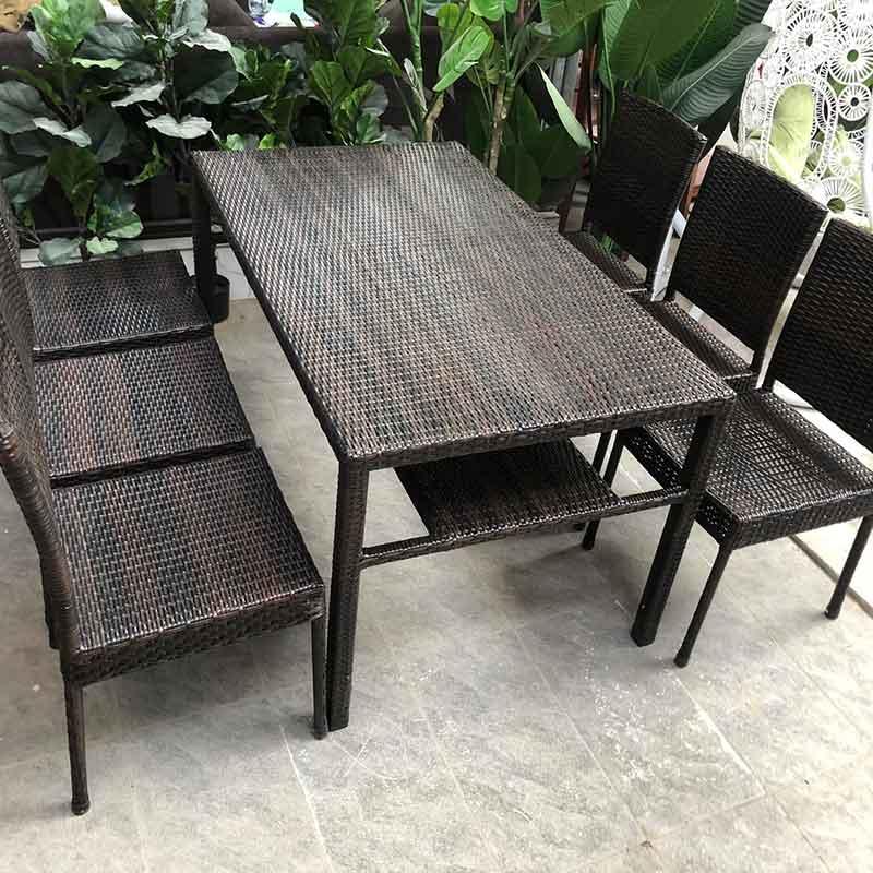 Bộ bàn ghế ăn 6 ghế mây nhựa cao cấp BM629