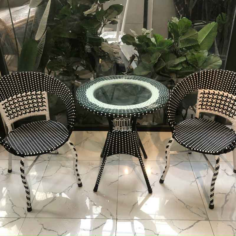 Bộ bàn ghế nhựa giả mây chân quỳ giá rẻ BM690