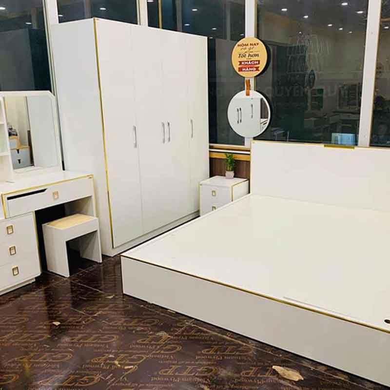 Combo phòng ngủ màu trắng viền vàng sang trọng CB268