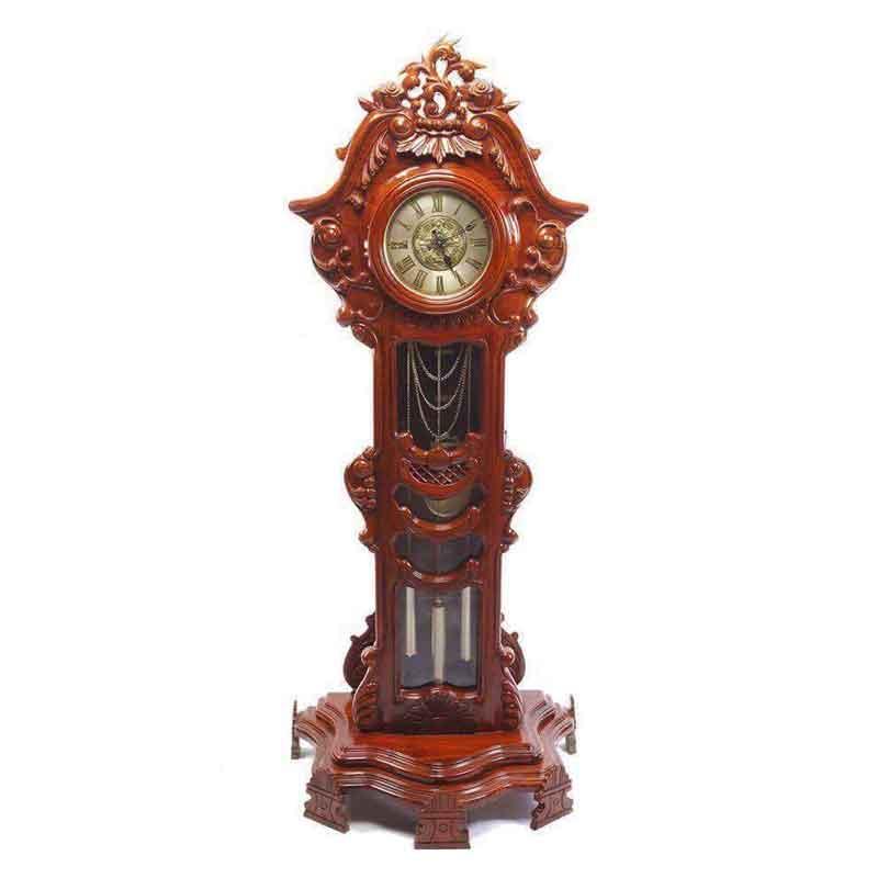 Đồng hồ cây mẫu hoa lá tây gỗ hương vân DH508