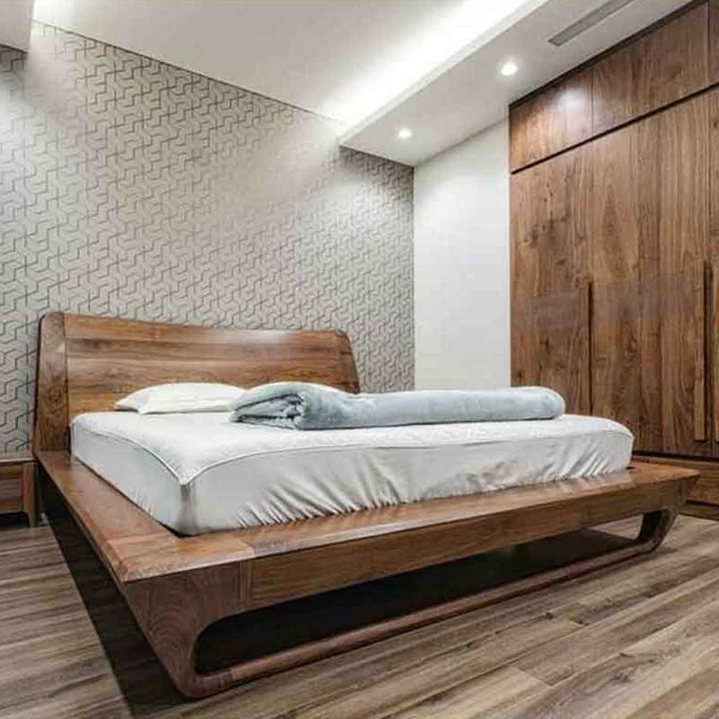 Giường ngủ gỗ óc chó thiết kế hiện đại GN999