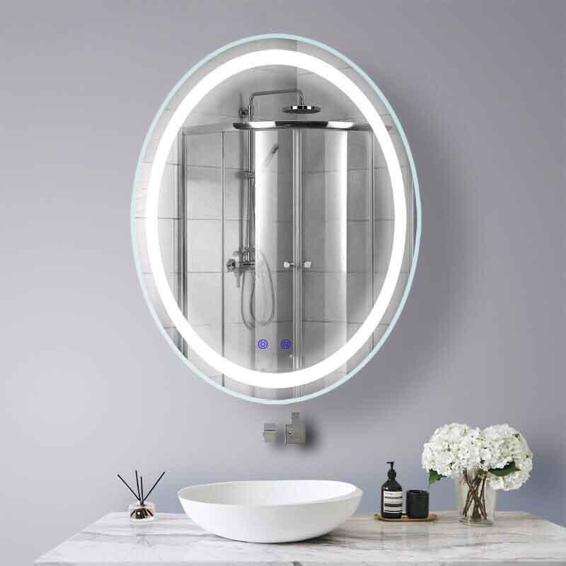 Gương LED cảm ứng hình Oval chế độ phá sấy sương mờ GT806