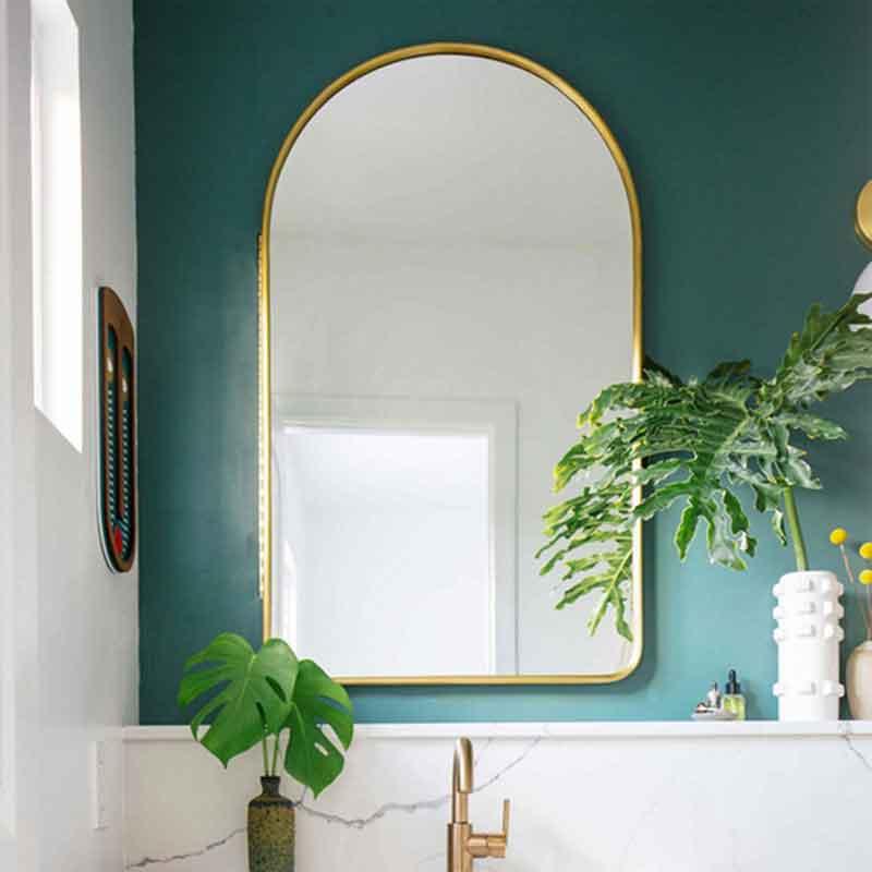 Gường nhà tắm hình S-Oval viền inox mạ vàng GT099
