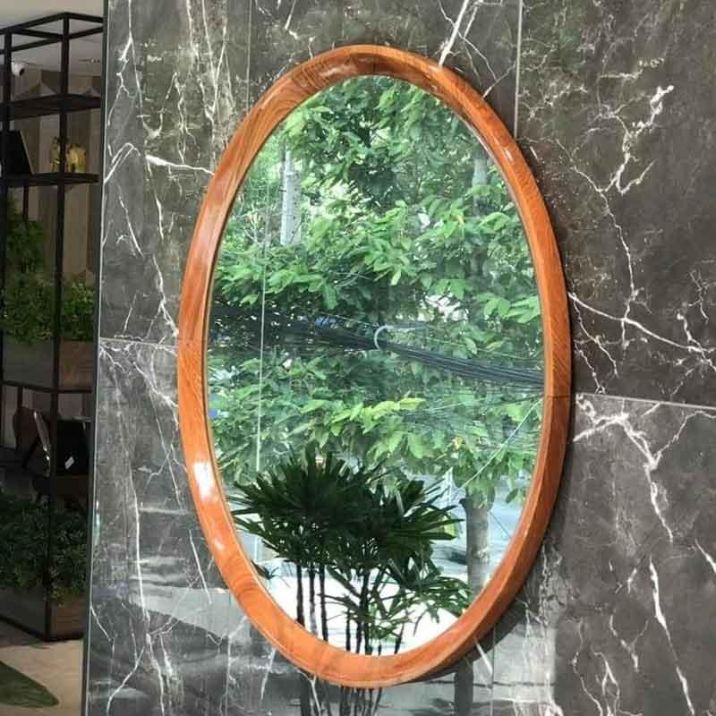 Gương phòng tắm khung gỗ sồi tự nhiên hình Ovan GT009