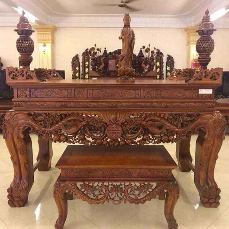 Sập thờ Mai Điểu gỗ Gụ Chân 20 kèm bàn cơm ST899