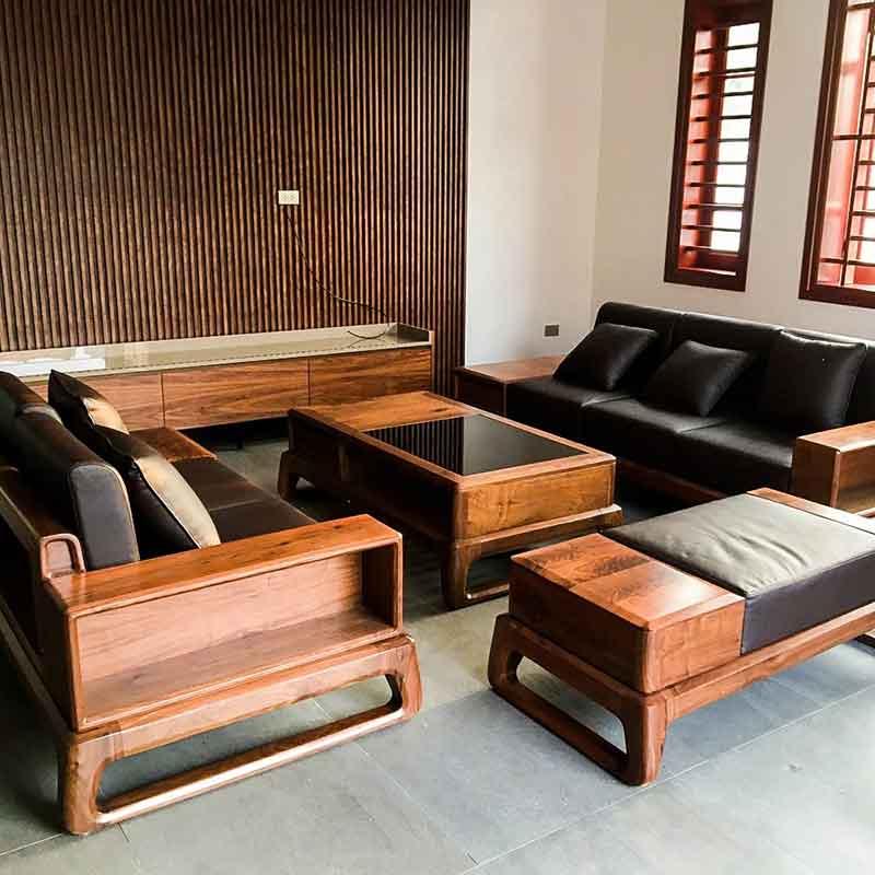 Sofa gỗ óc chó hiện đại dẫn đầu xu hướng SF880