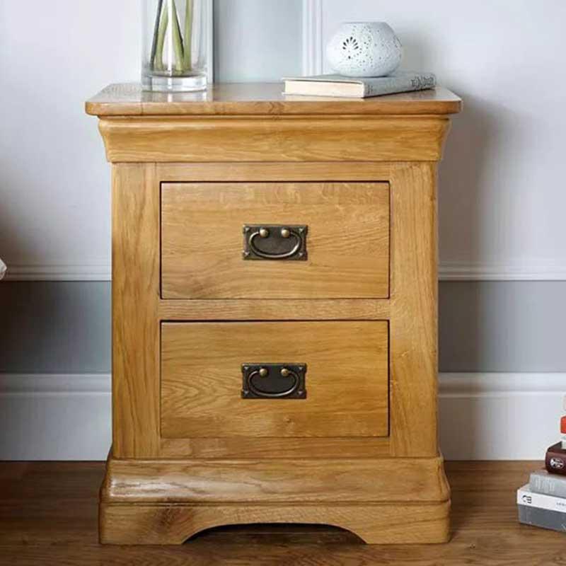 Tab đầu giường gỗ sồi thiết kế 2 ngăn kéo TD523