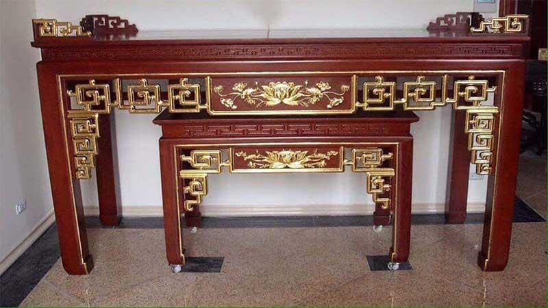Án gian thờ gỗ Mít mẫu hoa Sen sơn son thiếp vàng AG902