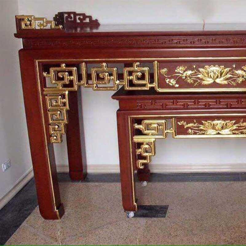 Án gian thờ mẫu Triện Sen gỗ gụ Lào chân 12 AG908